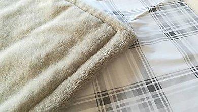 Textil - VLNIENKA DEKA a PRIKRÝVKA 100 % merino top super KARO GREY 135/ 200/ 220/ 240 cm x 200 cm - 11175092_