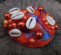 Odznaky/Brošne - plstená morská abstrakt brož farebnica - 11176587_