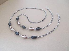 Iné šperky - Retiazka na okuliare - čierno/béžová - chirurgická oceľ - 11175857_