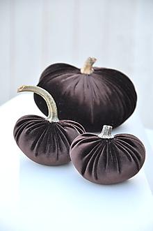 Dekorácie - zamatové tekvičky, hnedé, sada č.2 - 11176389_