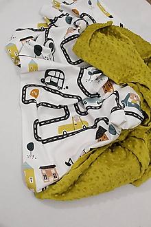 Textil - Minky deka Autodráha, 5 farieb na výber,100x70cm, - 11173397_