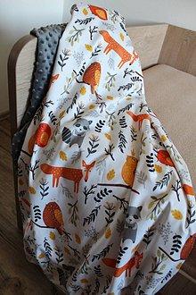 Textil - Minky deka Lesní kamoši, 5 farieb na výber,100x70cm, - 11173405_