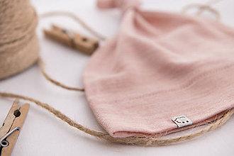 Detské čiapky - Detská rastúca merino čiapka so štýlovým  uzlíkom - ružová - 11174530_