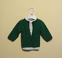 Detské oblečenie - Pletený svetrík zelený - 11176697_