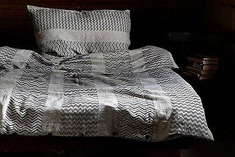 """Úžitkový textil - Lněné povlečení ,,CikCak"""" - 11174393_"""