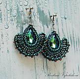 Náušnice - Visiace náušnice s brúseným skleneným kameňom Alexandra zelenomodré - 11173467_