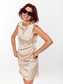 Šaty - ZNÍŽENÁ CENA zlaté riasené šaty - 11175838_