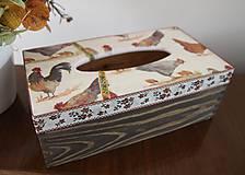 """Krabičky - Zásobník na servítky """"folk kohúty a sliepočky"""" - 11173889_"""
