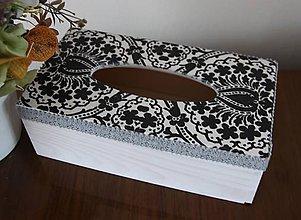 """Krabičky - Zásobník na servítky """"čierno-biela"""" - 11173873_"""