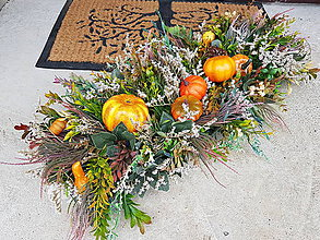 Dekorácie - Jesenná dekorácia tekvicka - 11175130_