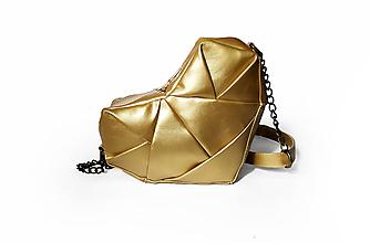 Kabelky - Srdce zlaté - origami kabelka cez rameno - 11176772_