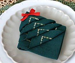 Úžitkový textil - ľanové obrúsky jedľovo zelené - 11175206_