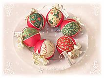 Dekorácie - Vianočné gule patchworkové - Červená sada Klasik - 11174451_