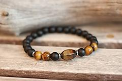 Šperky - Pánsky náramok z minerálu tigrie oko, onyx - 11174874_