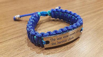 Náramky - Paracord náramok s tabuľkou  (Modrá) - 11174617_