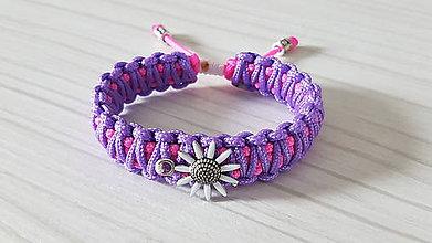 Náramky - Paracord náramok KVET - fialovo ružový - 11174639_