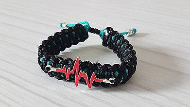 Náramky - Paracord náramok EKG - čierno tyrkys - 11174657_