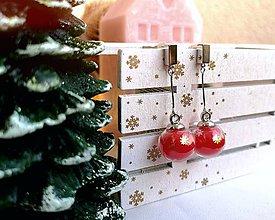 Náušnice - Vianočné náušnice napichovacie, červené gule - 11176205_