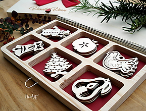 Dekorácie - Drevené vianočné ozdoby - Sada Tradičné - 11177612_