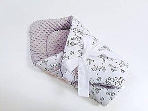 Textil - Zavinovačka sivá minky + vtáčiky na bielom - 11179732_