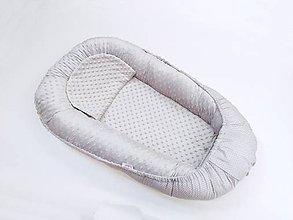 Textil - Hniezdo pre bábätko sivá minky + sivá bodka - 11179809_