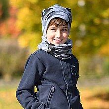 Detské súpravy - Detský set čiapka a nákrčník s koženým remienkom - 11177757_