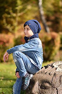 Detské súpravy - Detský set čiapka s nákrčníkom s koženým remienkom - 11178176_