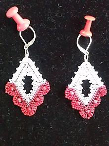 Náušnice - červeno-ružová-biela - 11177577_