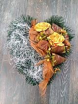 Dekorácie - Smútočné srdce na hrob jesenné - 11177932_