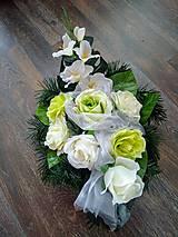 """Dekorácie - Smútočná ikebana na hrob """"jemná zelená"""" - 11180543_"""