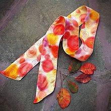 Šatky - Ohnivý závan- hodvábna maľovaná stuha - 11180405_