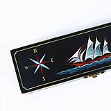 Taštičky - Puzdro s plachetnicou (ručne maľované)  (D24-V7-S11cm bez priecinkov) - 11177722_