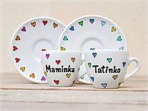 Nádoby - Porcelánová šálka s podšálkou s nápisom - Srdiečka - 11179572_