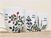 Nádoby - Maľovaný porcelánový hrnček - Bylinky - 11179952_