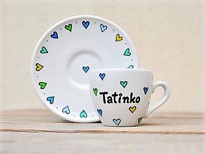 Nádoby - Porcelánová šálka s podšálkou s nápisom - Srdiečka (Tatinko - 80 ml) - 11179546_