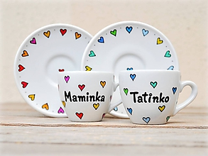 Nádoby - Porcelánová šálka s podšálkou na espresso (80 ml) - Srdiečka - 11179572_