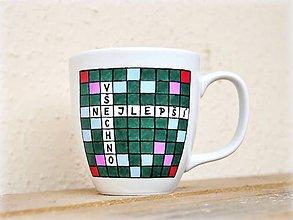 Nádoby - Maľovaný hrnček s textom - Scrabble - 11180086_