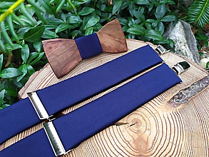 Doplnky - Pánsky drevený motýlik a traky - 11178765_