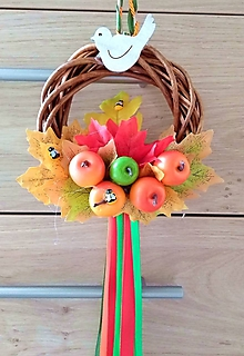Dekorácie - Jesenný Tekvičkový a Jablčkový Veniec venček na dvere alebo do interiéru priemer 25, 30 a 35 cm (priemer 15 cm - Pestrofarebná) - 11177862_