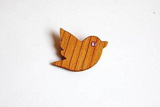 Odznaky/Brošne - Drevená brošňa - Čerešňový vtáčik 3 - 11179941_