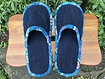Obuv - Modré riflové papuče s modrobielym lemom - 11177517_
