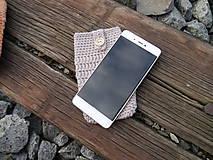 Na mobil - Háčkované púzdro na mobil (gaštan) - 11180251_