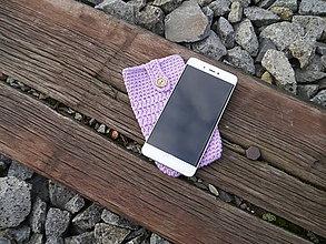 Na mobil - Háčkované púzdro na mobil (slivka) - 11180262_