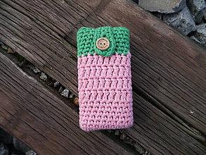 Taštičky - Háčkovaný obal na vreckovky (Zelená) - 11180400_