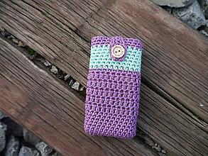 Taštičky - Háčkovaný obal na vreckovky (Fialová) - 11180411_