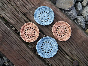 Úžitkový textil - Háčkované odličovacie tampóny (4ks v balení) (Béžová) - 11180456_
