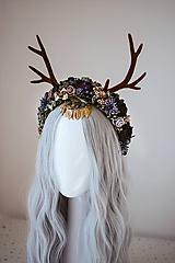 Ozdoby do vlasov - Lesná čelenka s parožkami Halloween - 11177409_