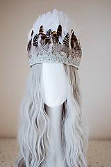 Ozdoby do vlasov - Romantický set - čelenka z peria a náušnice - 11177415_