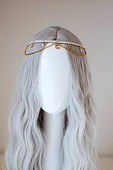 Ozdoby do vlasov - Béžová boho čelenka s perím - 11177417_