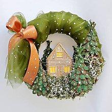 Dekorácie - Zasnežený domček v lese - 11178268_